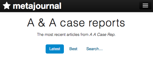 Metajournal adds anesthesia analgesia case reports