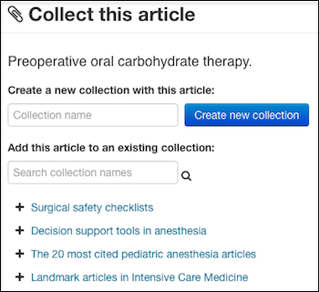 metajournal create collections of articles to group those on a similar topic or answer clinical questions