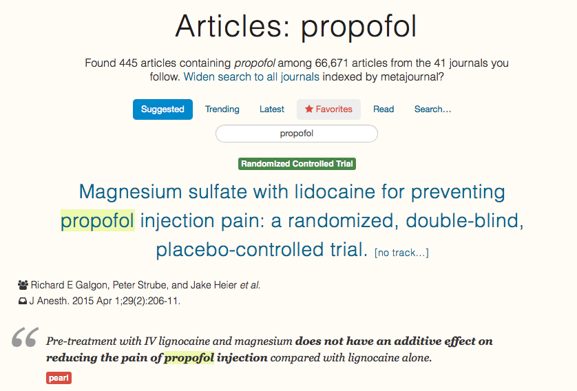 Search for medical articles and papers on metajournal